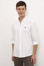 US Polo ბუნებრივი ქსოვილის თეთრი გრძელმკლავიანი პერანგი