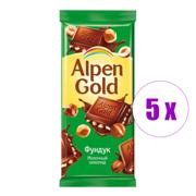 5 შეკვრა შოკოლადის ფილა თხილით Aplen Gold 90გ