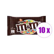 10 შეკვრა დაფასოებული კანფეტი შოკოლადით M&M's 45 გრ