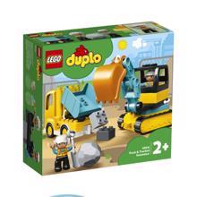 LEGO DUPLO სატვირთო მანქანა და მიკვლეული ექსკავატორი