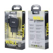 MTK დამტენი 1 X USB კაბელის გარეშე 2.1A შავი  AT841 black