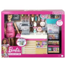 MATTEL Barbie Coffee Shop Playset and Doll ბარბის მაღაზია