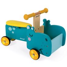 Janod Hippopotamus Ride-On დასაჯდომი ხის სათამაშო ეტლი