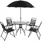 კომპლექტი ბაღის ავეჯის (მრგვალი მაგიდა, 4 სკამი, ქოლგა) 52x56x80 (FS005A)