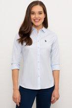 US Polo გრძელმკლავიანი ცისფერი პერანგი