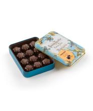 Chocolate Amatller ყვავილები – შავი შოკოლადი (70%) ფორთოხლით. მეტალის ყუთი