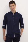 US Polo ბუნებრივი ქსოვილის ლურჯი გრძელმკლავიანი პერანგი