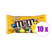 10 შეკვრა დაფასოებული კანფეტი თხილით M&M's 45გრ