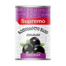 Supremo შავი ზეთისხილი კურკით 425 გრ