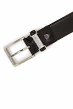 US Polo ნატურალური ტყავის შავი ქამარი
