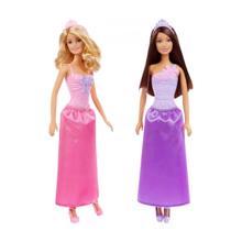 MATTEL Barbie პრინცესები ვარდისფერი და იისფერი კაბით