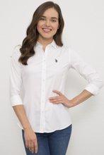 US Polo გრძელმკლავიანი თეთრი პერანგი