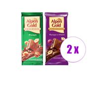 2 შეკვრა შოკოლადის ფილა რძიანი თხილით + რძიანი თხილით და ქიშმიშით Alpen Gold 180გრ