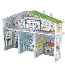 """MONUMI დიდი გასაფერადებელი და ასაწყობი 3D """"სახლი"""""""