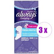 3 შეკვრა ქალის ყოველდღიური საფენი Aalways Fresh & Protect Normal Deo