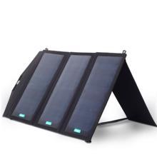 Aukey პორტატული დამტენი 16000mAh PB-P2 Solar Charger with Dual USB Port Black