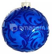 ბურთი შუშის (ხელნაკეთი) H-80-260331-S-საახალწლო ლურჯზე დ-80მმ
