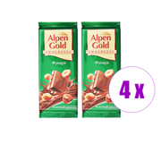 4 შეკვრა შოკოლადის ფილა რძიანი თხილით + რძიანი თხილით Alpen Gold 180გრ(2ც)