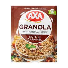 AXA ხრაშუნა მიუსლი თაფლით, თხილით და კარამელით 40 გრ