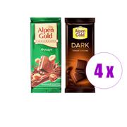 შეკვრა შოკოლადის ფილა რძიანი თხილით + შავი Alpen Gold 180გრ(2ც)