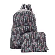 Eco Chic Black Feather Backpack - ჩანთა