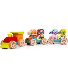 Cubika ხის სატვირთო მატარებელი პატარა მანქანებით