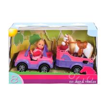 SIMBA Evi Love თოჯინა ვარდისფერი მანქანით, ტრაილერით და თეთრი ცხენით