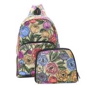 Eco Chic Green Peonies Backpack - ჩანთა
